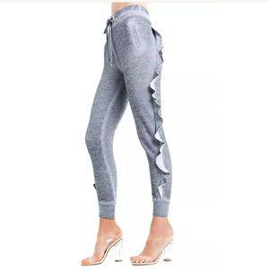 Wildfox grey ruffled sweatpants